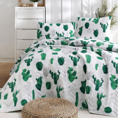 Покривало стебане Eponj Home Kaktus Yesil 160x220
